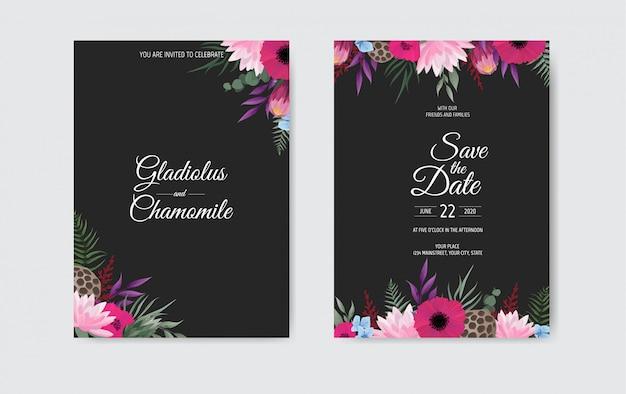Zaproszenie na ślub botaniczny szablon karty, białe i różowe kwiaty