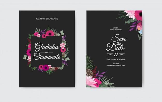 Zaproszenie na ślub botaniczny szablon karty, białe i różowe kwiaty.