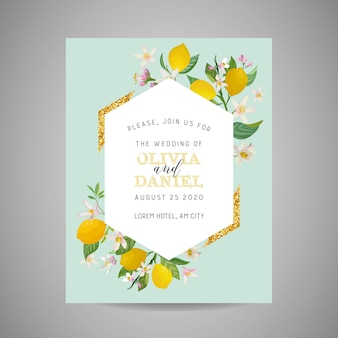Zaproszenie na ślub botaniczny, vintage zapisz datę, szablon projektu cytryny owoców kwiatów i liści, ilustracja kwiat. wektor modny okładka, plakat graficzny, broszura