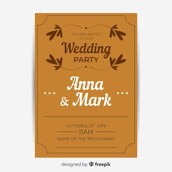 Zaproszenie na ślub brązowy z retro szablon projektu