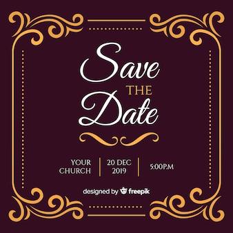 Zaproszenie na ślub burgundii ze złotymi ornamentami