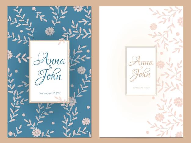 Zaproszenie na ślub delikatne kwiaty. zapisz kartkę z życzeniami data kwiatowy wzór. dzikie zioła rustykalne tradycyjne rocznika hafty szablon wektor