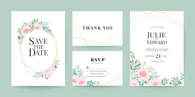 Zaproszenie na ślub, dziękuję i zestaw szablonów kart rsvp