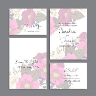 Zaproszenie na ślub, dziękuję karty, zapisz kartę daty.