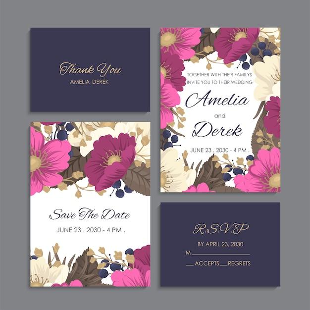 Zaproszenie na ślub, dziękuję karty, zapisz karty daty.