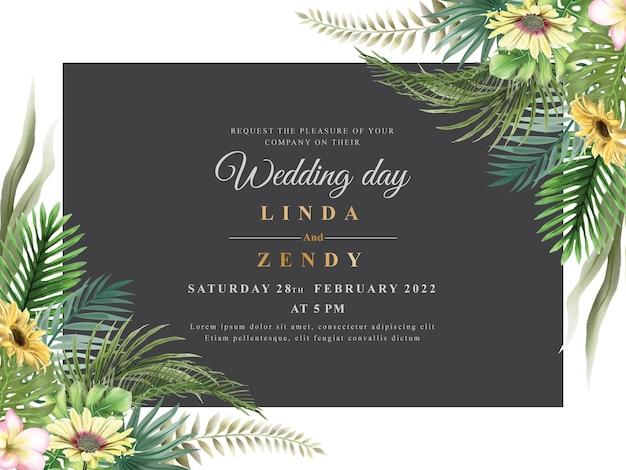 Zaproszenie na ślub elegancki kwiatowy wzór