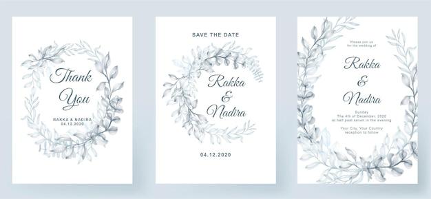 Zaproszenie na ślub elegancki prosty biały z zielenią akwareli pastelowych dekoracji liści