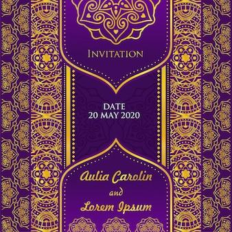 Zaproszenie na ślub fioletowy i złoty