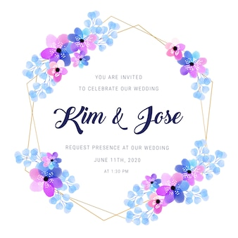 Zaproszenie na ślub golden frame akwarela