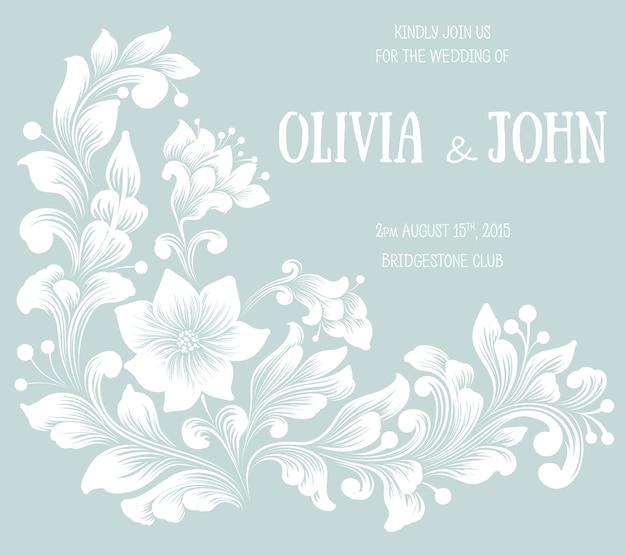 Zaproszenie na ślub i karta ogłoszenia z grafiką w tle kwiatów. elegancki ozdobny kwiatowy tło. kwiatowe tło i eleganckie elementy kwiatowe. szablon projektu.