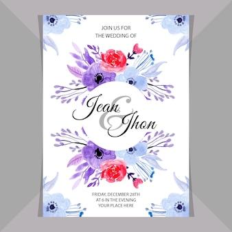 Zaproszenie na ślub karty z akwarela kwiatowy miękki niebieski