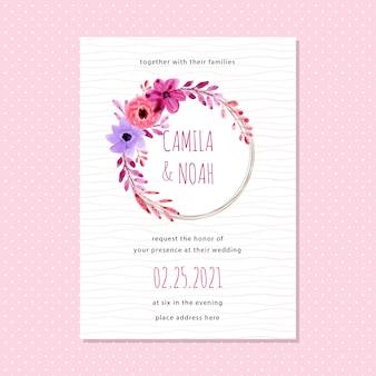 Zaproszenie na ślub karty z akwarela wieniec kwiatowy