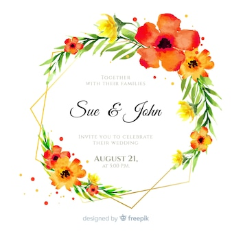 Zaproszenie na ślub kolorowy kwiatowy akwarela ramki