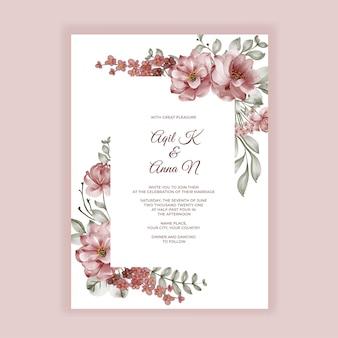 Zaproszenie na ślub kwiat akwarela bordowe róże