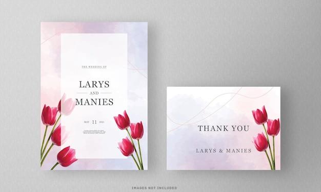 Zaproszenie na ślub kwiat akwarela i dziękuję karty