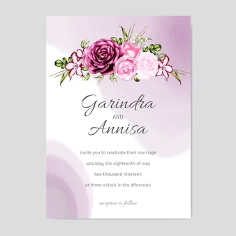 Zaproszenie na ślub kwiatowy akwarela