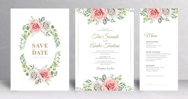 Zaproszenie na ślub kwiatowy drwan