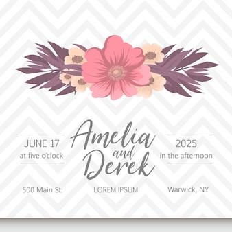 Zaproszenie na ślub kwiatowy elegancki zaprosić wektor karty