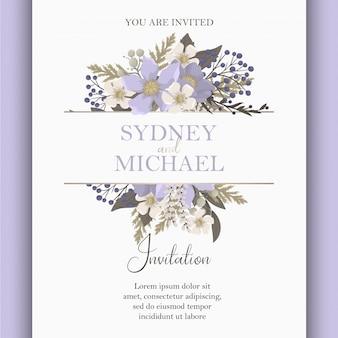 Zaproszenie na ślub kwiatowy fioletowy