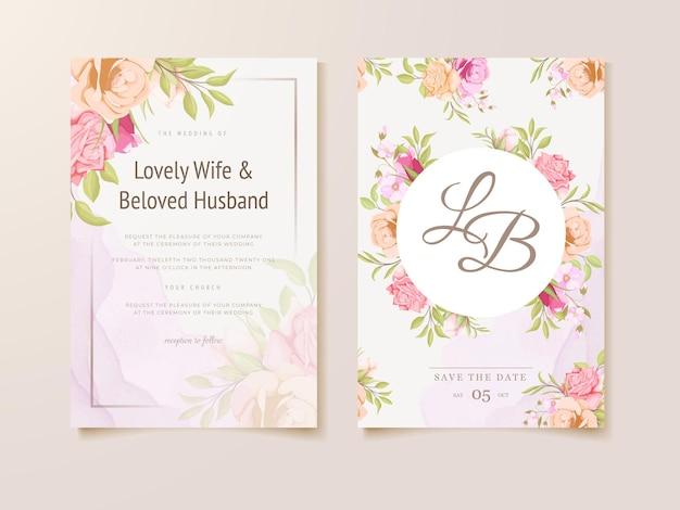 Zaproszenie na ślub kwiatowy koncepcja szablonu projektu