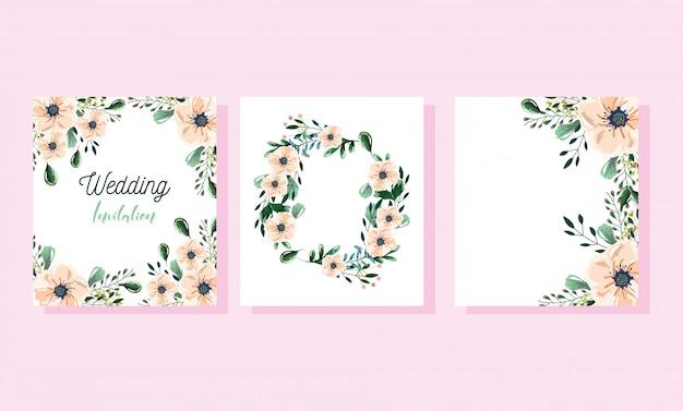 Zaproszenie na ślub kwiatowy, kwiat pozostawia akwarela szablon karty