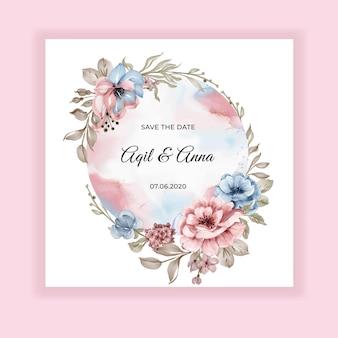 Zaproszenie na ślub kwiatowy różowy niebieski rama akwarela