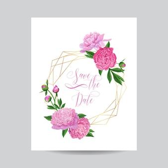 Zaproszenie na ślub kwiatowy szablon z różowe piwonie. zapisz datę geometryczną złotą ramkę z kwiatami i miejscem na tekst. kartkę z życzeniami, plakat, baner. ilustracja wektorowa