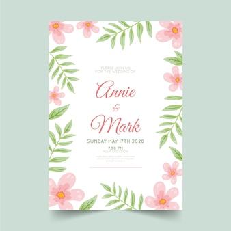 Zaproszenie na ślub kwiatowy szablon