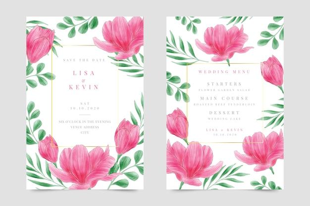 Zaproszenie na ślub kwiatowy w akwareli