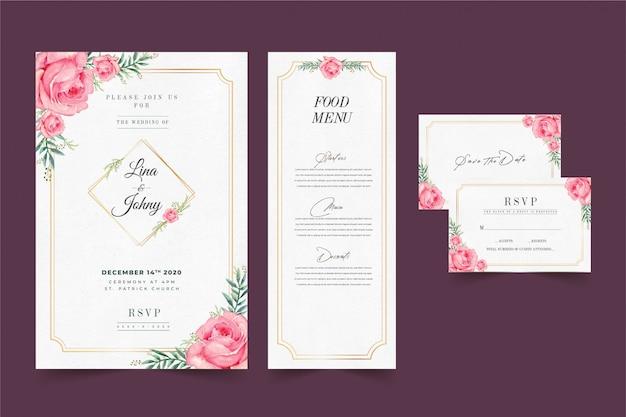 Zaproszenie na ślub kwiatowy w kolorze różowym