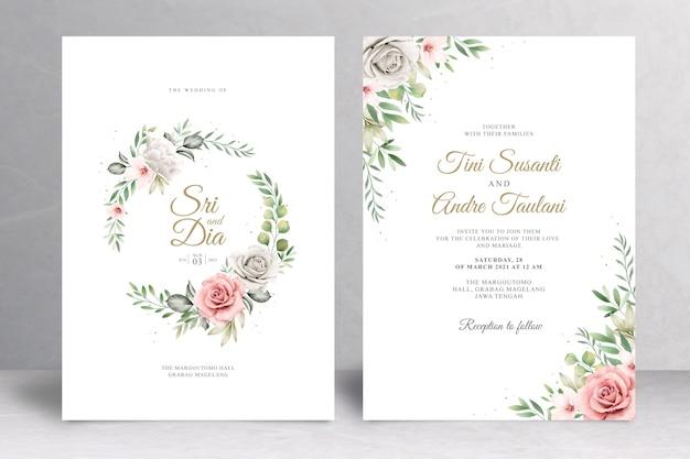 Zaproszenie na ślub kwiatowy wzór wieniec