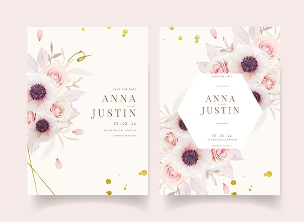 Zaproszenie na ślub kwiatowy z akwarela różowe róże i kwiat anemony