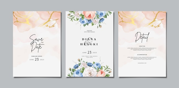 Zaproszenie na ślub kwiatowy z akwarelą