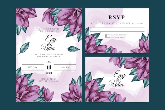 Zaproszenie na ślub kwiatowy z białym tłem szablonu