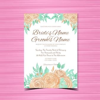 Zaproszenie na ślub kwiatowy z brzoskwini róż