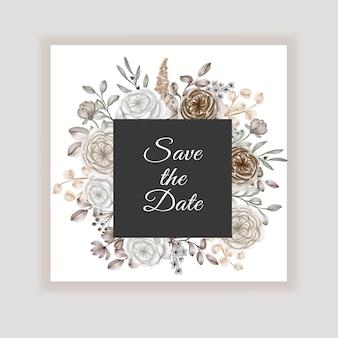 Zaproszenie na ślub kwiatowy z dekoracją kwiatową brązowy karmel