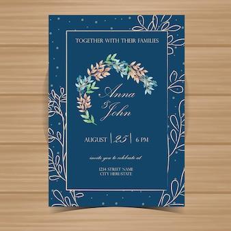 Zaproszenie na ślub kwiatowy z granatowym tle