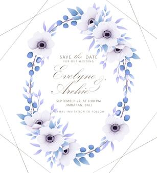 Zaproszenie na ślub kwiatowy z kwiatami anemonu