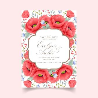 Zaproszenie na ślub kwiatowy z kwiatem maku