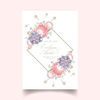 Zaproszenie na ślub kwiatowy z kwiatem protea i soczyste
