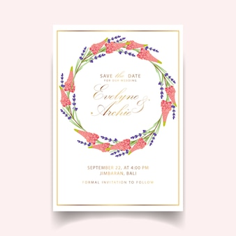 Zaproszenie na ślub kwiatowy z kwiatów łubinu