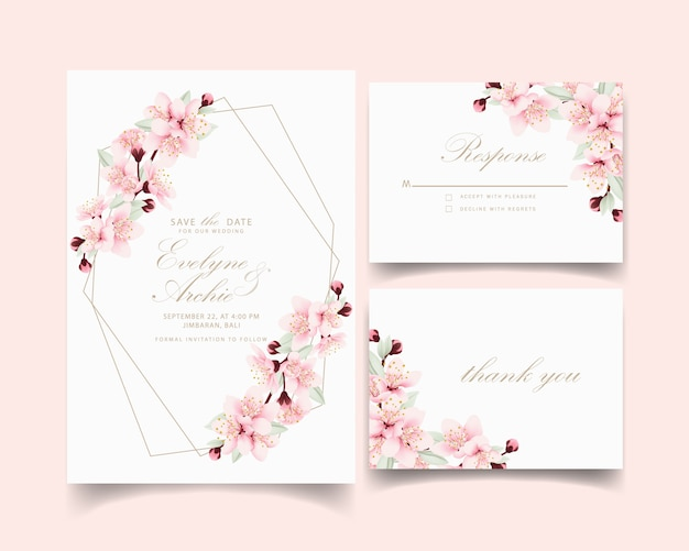 Zaproszenie na ślub kwiatowy z kwiatów wiśni