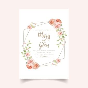 Zaproszenie na ślub kwiatowy z kwiatowymi różami ogrodowymi