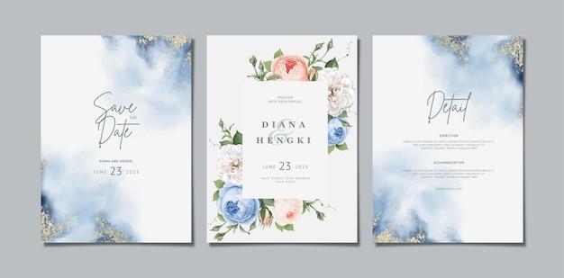 Zaproszenie na ślub kwiatowy z miękką akwarelą