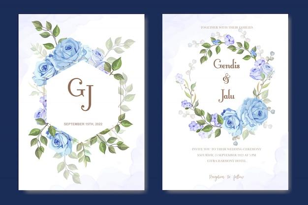 Zaproszenie na ślub kwiatowy z niebieskimi różami
