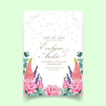 Zaproszenie na ślub kwiatowy z piwonii, lawendy, łubinu i eukaliptusa