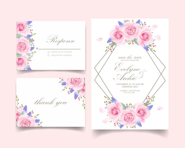 Zaproszenie na ślub kwiatowy z różową różą i kwiat muscari
