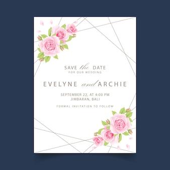 Zaproszenie na ślub kwiatowy z różowa róża