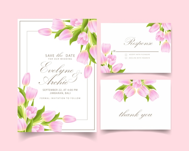 Zaproszenie na ślub kwiatowy z różowy tulipan kwiat