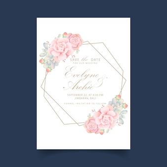 Zaproszenie na ślub kwiatowy z sukulentów